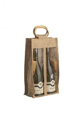 Jutová taška pre 2 fľaše