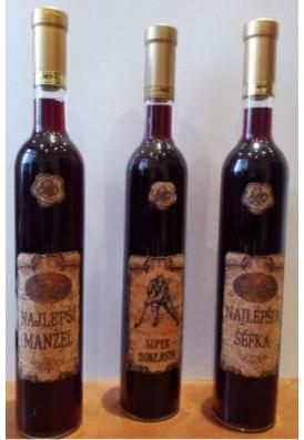 Fľaša na víno s korkovím etiketom 0,5L